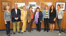 Art Advisory Committee with Mayor at show. Elaine Becker, Andrew Permison, Judith Kramer, Mayor Sandy Haimoff, Art Advisory Chair Laraine Barach, Orna Greenberg, Amy McGovern, Victoria Plummer