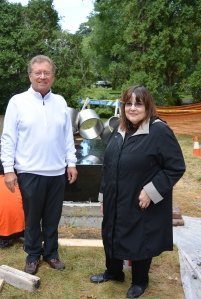 """Lenny Shapiro and Laraine Barach in front of the installed """"Rotare"""""""