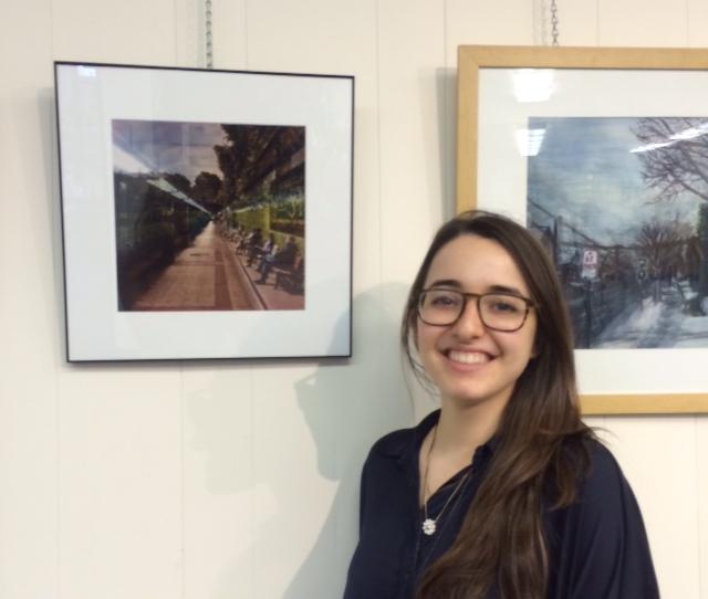 """Michelle Belgrod with her artwork """"Underground Munich"""""""