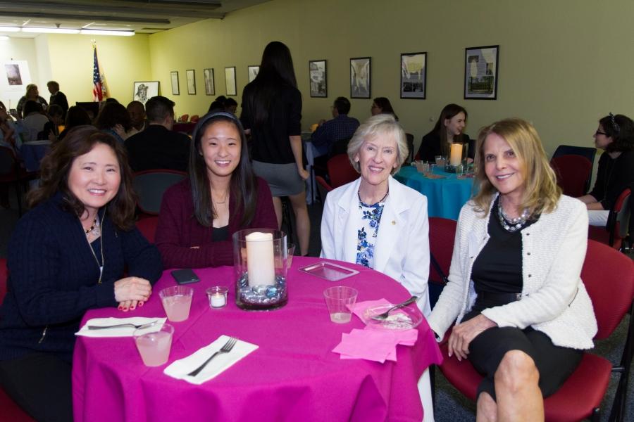 2015 Scholarship Winner Caroline Shim and mother with Art Advisory Committee Members Elaine Becker and Judith Kramer