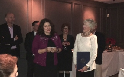 Art Advisory Committee member Elaine Becker (r) is honored at the Township Appreciation dinner. Fellow committee member Amy McGovern delivered remarks about Elaine's 18 years of service.