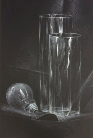 Jennifer Guo -Arts Advisory Junior Honorable Mention 2017-White Charcoal on Black Paper