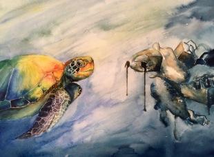Jessica Li-Art Advisory Junior Honorable Mention 2017, Stranger Friend, Watercolor