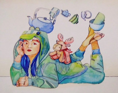 Jessica Li- Arts Advisory Junior Honorable Mention 2017, It's Always Tea Time, Watercolor and Ink