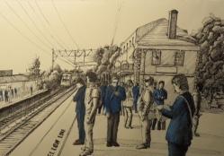 Qizhang Wu -Art Advisory Senior Scholarship Award 2017 --Morning at Millburn Station- Micron Pen and Colored Pencil