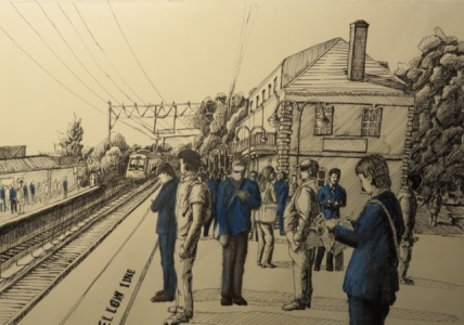 Qizhang Wu -Art Advisory Senior Scholarship Award 2017 --Morning at Millburn Station- Micron Pen and Colored Pencil