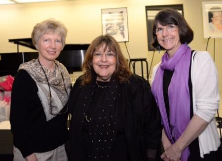 MHS Art teachers Mary Weber and Kathleen Harte with Laraine Barach