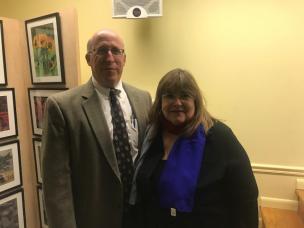 MHS Principal William Miron with AAC Chair Laraine Brennan Barach