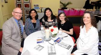 Michael Banick, Millburn Library Director with Staff and Friends of Library- Neena, Yujing, Dorothy and Barbara