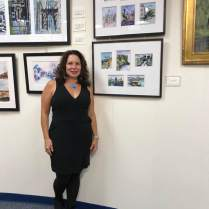 Amy McGovern with her watercolors