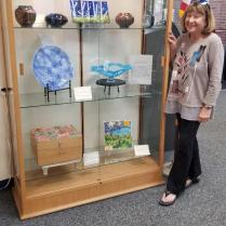 Kathi Hecht with glass artworks
